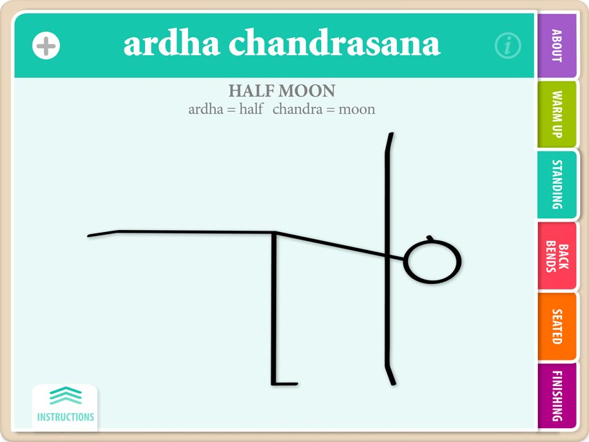 Hatha Vinyasa Yoga for Beginners Yoga Asana Flash Cards Ardha Chandrasana Initial Flash Card with Title Showing