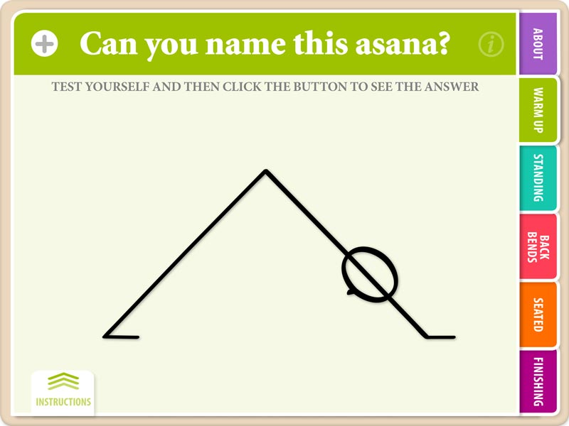 Downdog Flash Card with the Initial Screen showing, prompting you to guess the name of the asana