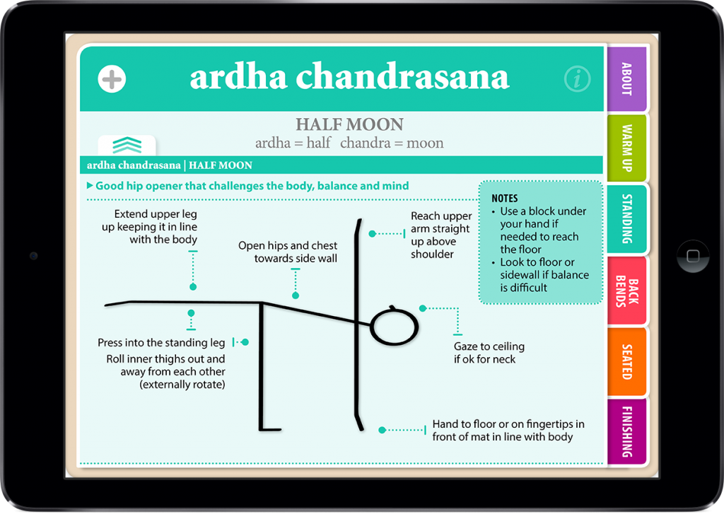 Hatha Vinyasa Yoga for Beginners Showing Instructions on the iPad