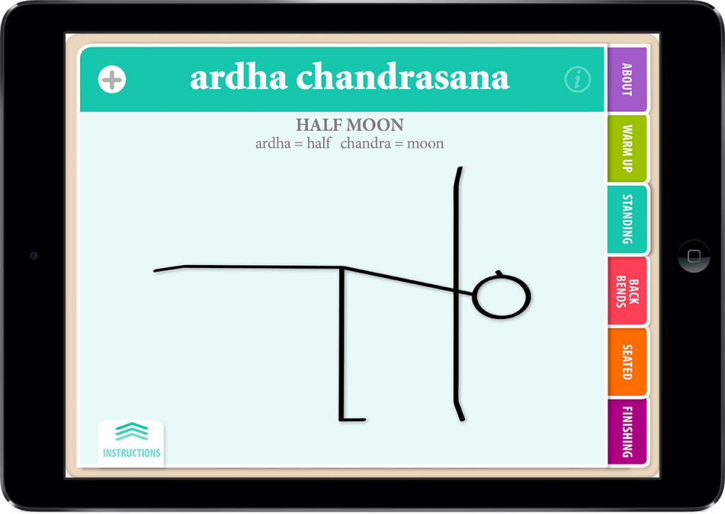 Hatha Vinyasa Yoga for Beginners Showing Asana Name on the iPad