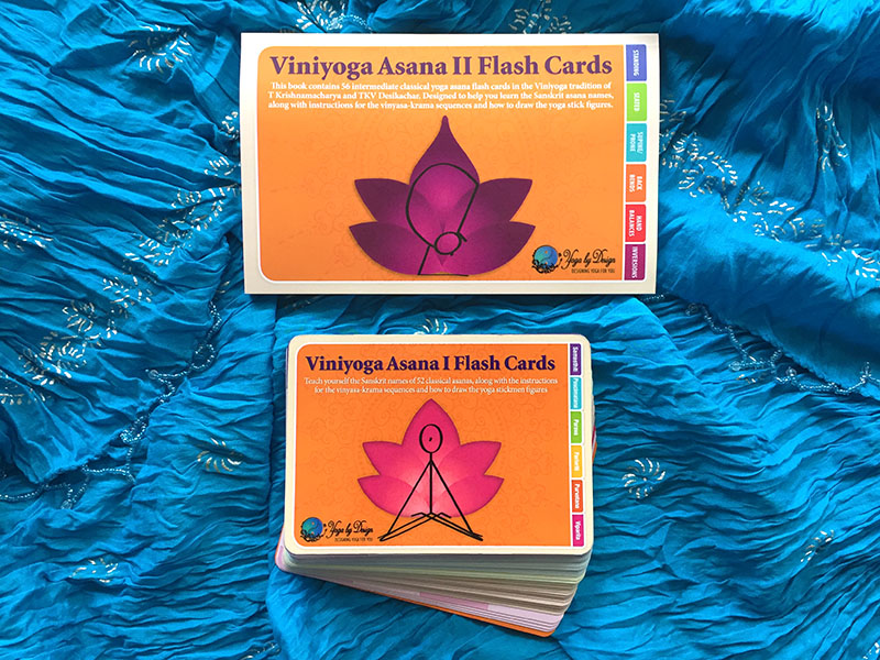 Viniyoga Asana I and Viniyoga Asana II (Intermediate asanas) flash cards companion yoga books