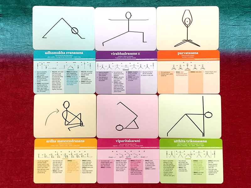 Viniyoga Asana I printed yoga flash cards showing front and back of flash cards for 6 yoga poses