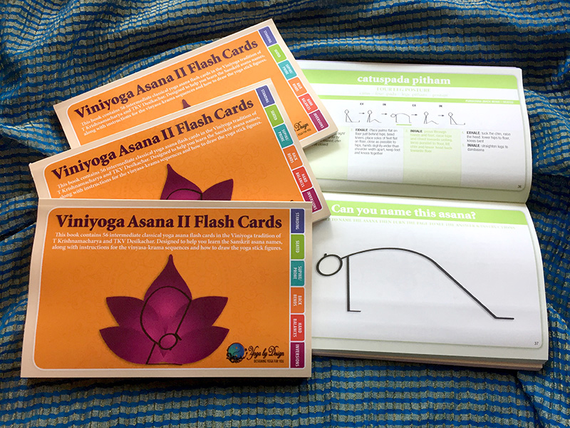 Viniyoga Asana II printed yoga books with seated asanas page open