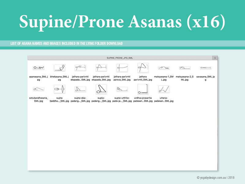 16 Hatha Yoga Stick Figure Downloadable images Supine and Prone Asanas