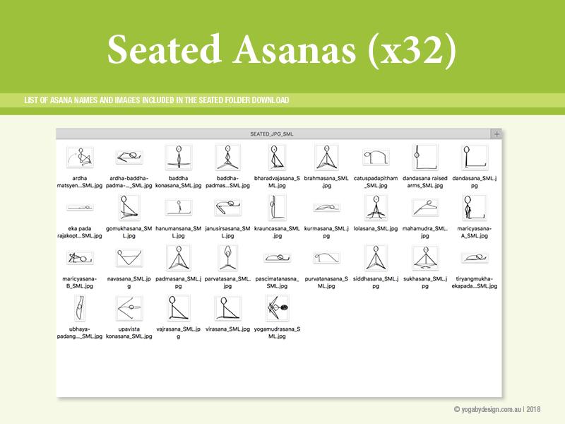 32 Hatha Yoga Stick Figure Downloadable images Seated Asanas