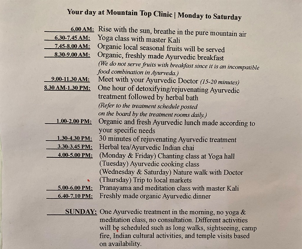Mountain Top Clinic Daily Timetable